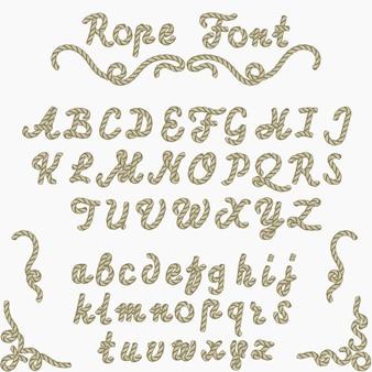 ロープフォント、航海の手書きの手紙、海のスタイルのロープ文字、装飾的なラテンアルファベット