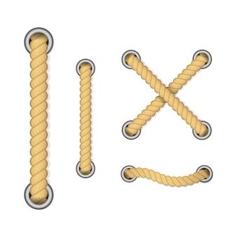 装飾と覆いのためのロープ、航海のねじれたロープの結び目。