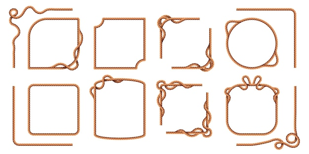 Rope frames. hemp thread square and round borders, curved nautical cord lines. realistic cartoon sailor jute strings and twines vector set