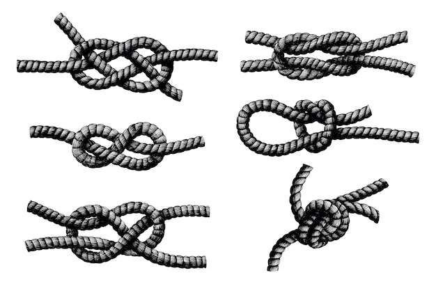 Rope knot hand draw vintage engraving isolated on white background