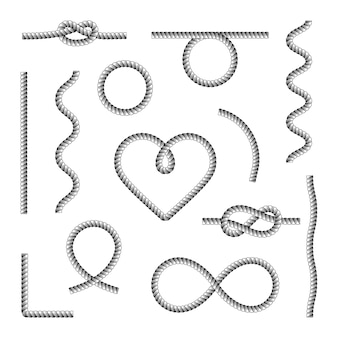 Rope knots borders black thin line icon set