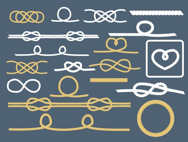 Rope knots collection decorative nautical set