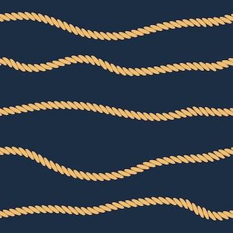 ロープラインのシームレスパターン。マリンロープストライプの背景。ベクトルイラスト。