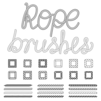 Rope nautical vector pattern brushes set