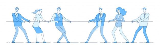 Веревка тянет. командный бизнес соревнования, люди соперника тянут веревку. конкуренция, конфликтное соперничество в офисе. концепция перетягивания каната
