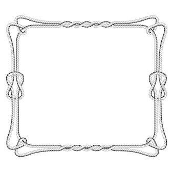 Квадратный каркас веревки с узлами и петлями