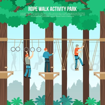 Rope walk park flat template