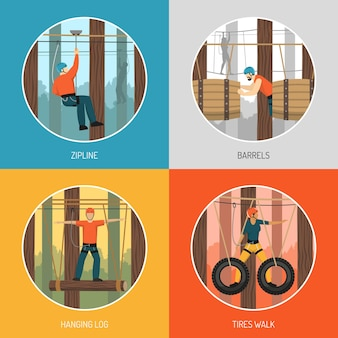 Ropes course outdoor adventure concept 4 flat icons with zip line tour and tires walking illustration