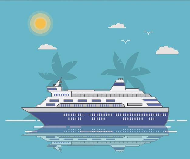 Круизный лайнер лайнер ropical ландшафт острова и пальмы.