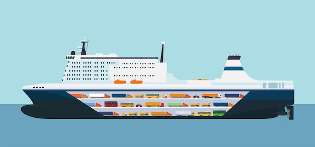 Roro carrier ship isolated. vector illustration.