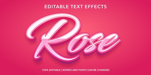 Rose 3d style editable text effect