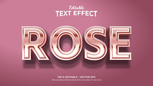 Rose 3d style editable text effects