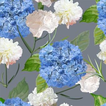 バラとカーネーションの花のシームレスパターン