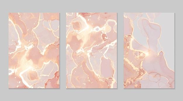 Абстрактные текстуры розового и золотого мрамора