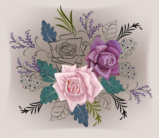 장미와 그래픽 꽃