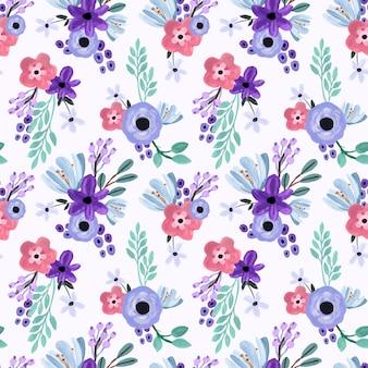 Роза и лилия фиолетовый пастель гуашь бесшовный фон