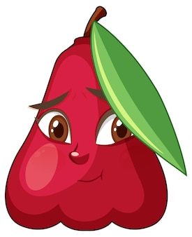Rose apple cartoon character with facial expression