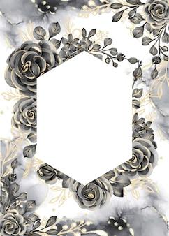 흰색 공간이 있는 장미 검정과 금색 수채화 배경 꽃 프레임