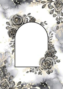 ローズブラックとゴールドの水彩背景花フレームと白いスペース