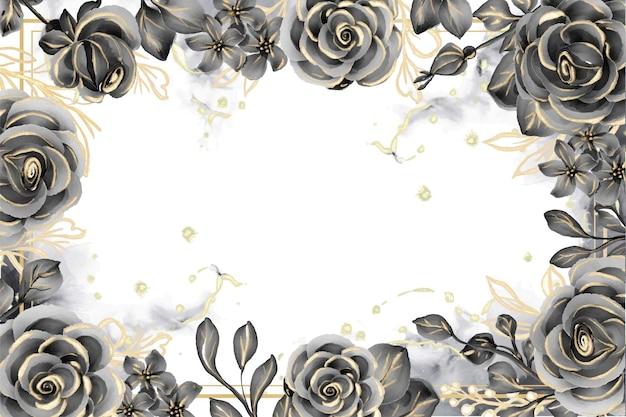 Cornice floreale con sfondo acquerello rosa nero e oro con spazio bianco