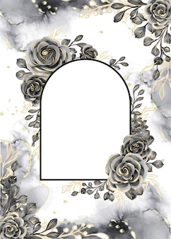 Rose black and gold watercolor background floral frame with white space