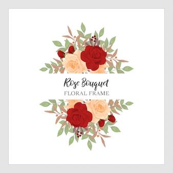 Rose bouquet floral frame