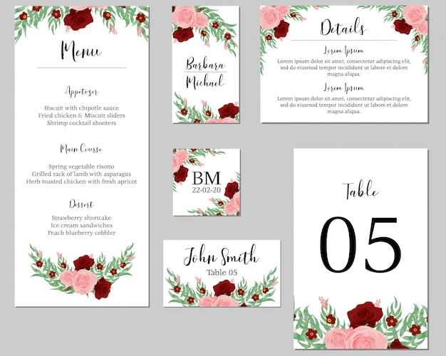 Rose bouquet wedding stationary template