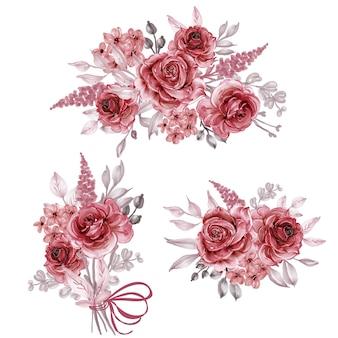 로즈 버건디 수채화 꽃꽂이 및 꽃다발 컬렉션