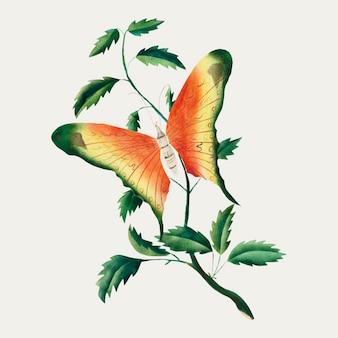 バラの茂みと蝶のヴィンテージイラストベクトル