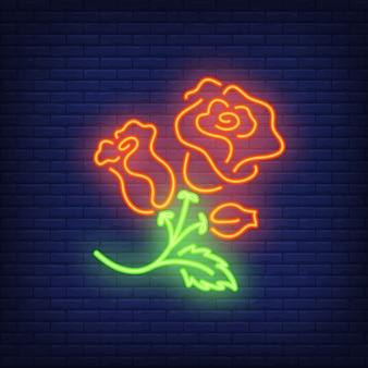 ローズブッシュネオンサイン要素。夜の明るい広告の花のコンセプト。
