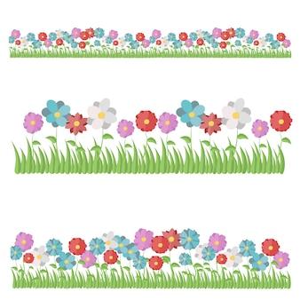 ローズ、カーネーション、ダリア、カモミール、チューリップ、アイリス、ガザニア、ユリ、菊、水仙。白い背景に分離された美しい平らな春と夏の花のアイコンのセット。フラットスタイル、イラスト