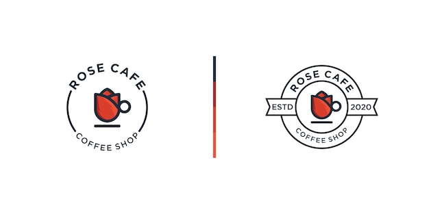 Rose coffee shop logo design template