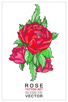 Rose colored tattoo old school style