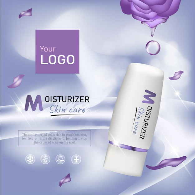 Rose cosmetic ads, droplet and 3d bottle in purple with burst light in 3d illustration, purple roses