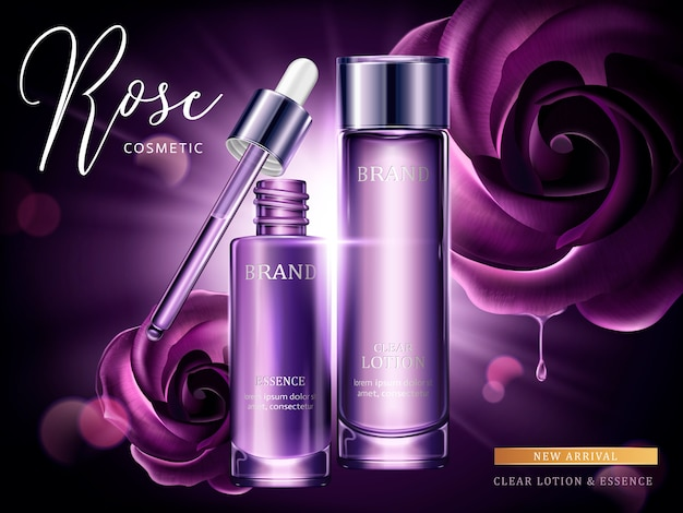 Rose cosmetic ads, droplet and glass bottle in purple with burst light in  illustration, purple roses