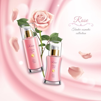 Rose cosmetics realistic with two tubes of cream blooming flower and petals  illustration