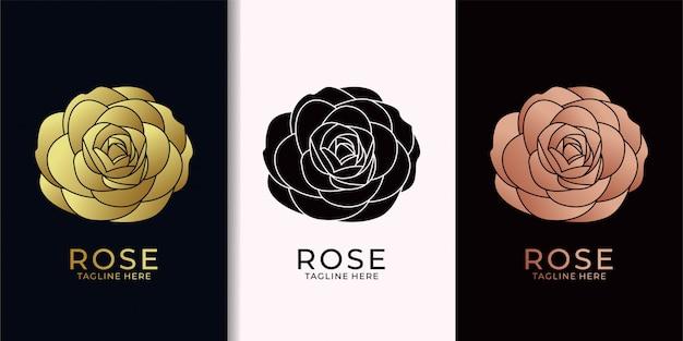バラのエレガントなゴールドのロゴデザイン