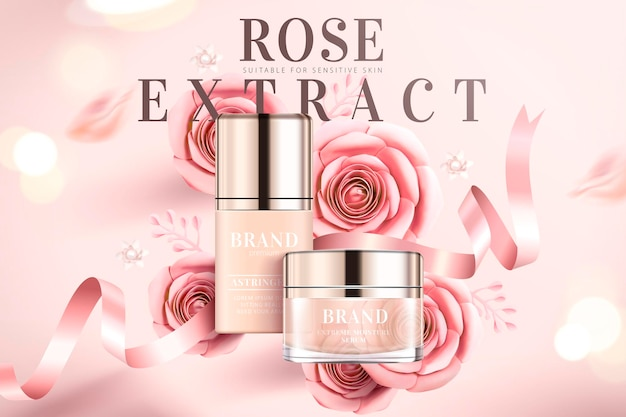 Rose extract product   with paper roses and ribbons