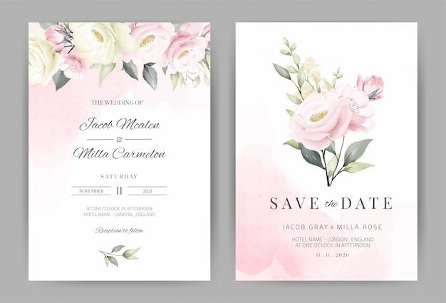 장미 식물 수채화 결혼식 초대 카드 템플릿 꽃 꽃다발 디자인을 설정합니다.