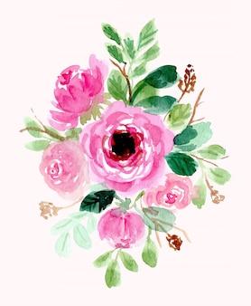 Rose floral arrangement watercolor background