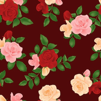 Бесшовный цветочный букет роз