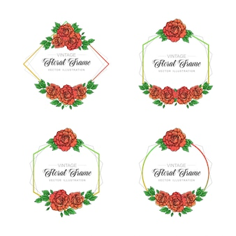Rose floral frame collection