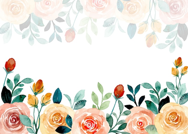 Rose floral frame with watercolor