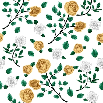 Rose floral seamless pattern white and gold