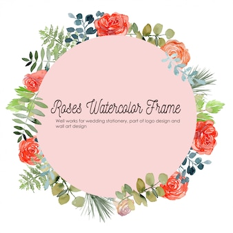 Rose floral watercolor frame background