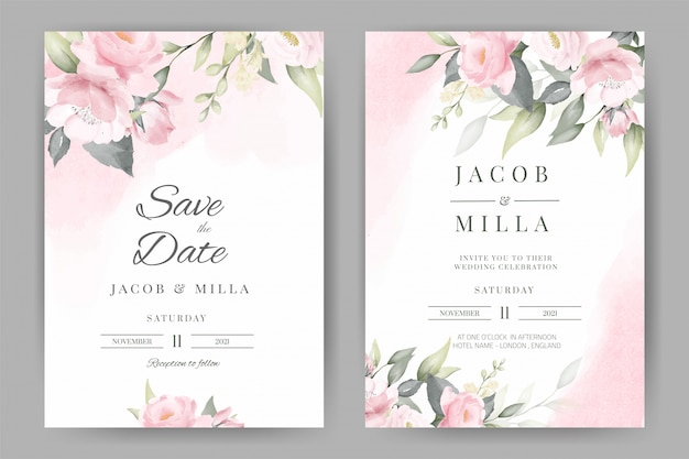 Rose floral watercolor wedding invitation set card template design with pink watercolor background bouquet  .