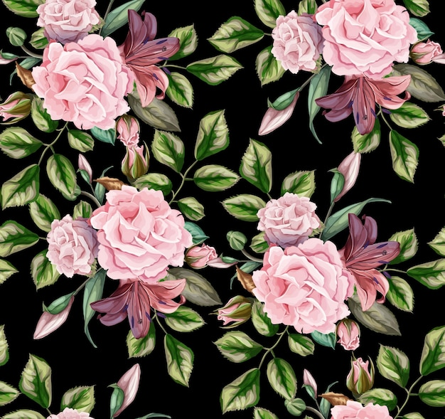 Rose flower blossom blooming with leaves seamless pattern.   vintage background.