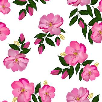 Rose flower bouquet seamless pattern
