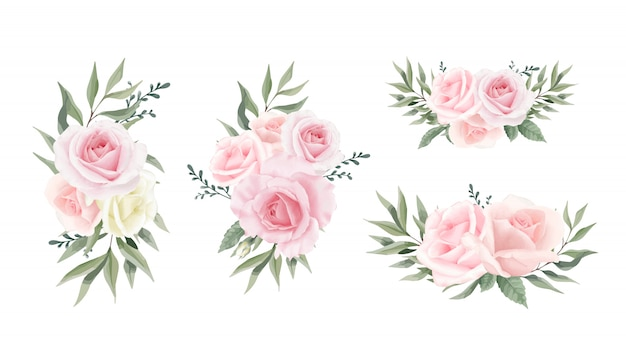 Коллекция rose flower листья эвкалипта. набор акварельных цветочных букетов