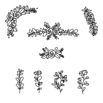 Rose flower elements border wedding vector set